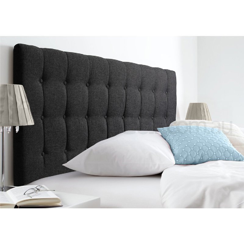 Maddison King Fabric Upholstered Bed Head Dark Grey Buy