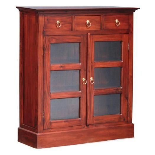 Display Kitchen Cabinets For Sale: Small Timber Display Cabinet W/ 3 Drawers Mahogany