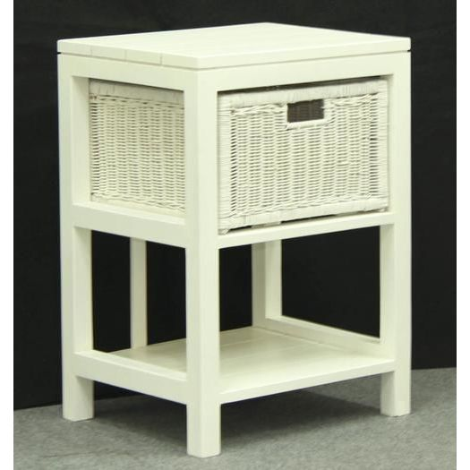 Lamp Side Table W/ 1 Rattan Wicker Drawer White