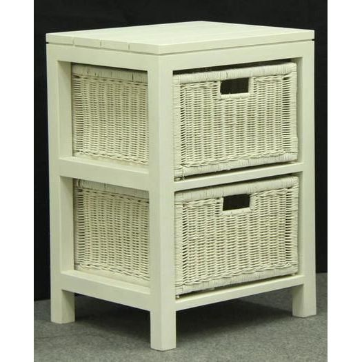Lamp Side Table W/ 2 Rattan Wicker Drawers In White