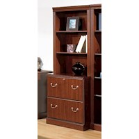 MDF Lateral Filing Cabinet w/ Hutch in Cherry 180cm