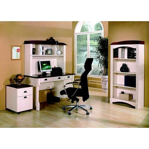 Desk pedestal bookcase home office set white buy office furniture sets - Home office desk furniture sets ...
