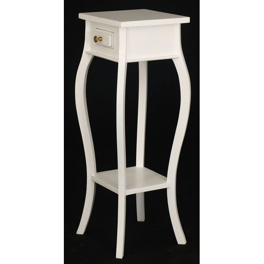 The Living Room W1: Cabriole Plant Stand Side Table W/ 1 Drawer White