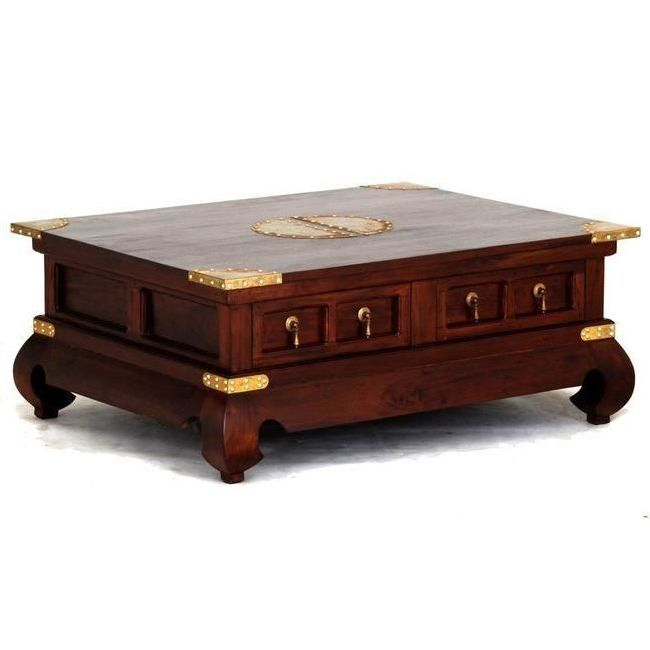 Chinese Coffee Table W/ 4 Drawers In Mahogany 80cm