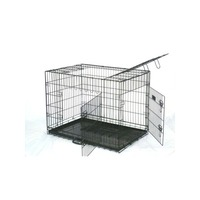 3 Door Collapsible Dog Cage Travel Crate Black 42in
