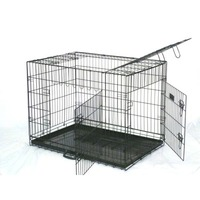 3 Door Collapsible Dog Cage Travel Crate Black 48in
