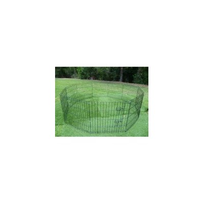 Pet Outdoor Run 10 Panel Playpen w Navy Cover 76cm