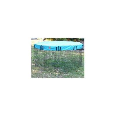 Pet Outdoor Run 10 Panel Playpen w Teal Cover 76cm