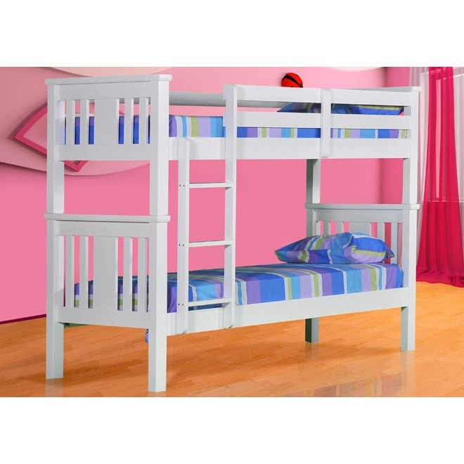 Kids Single Size Solid Timber Bunk Bed In White Buy Bunk Beds 180478