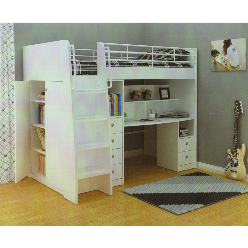 King Single High Loft Bed W Desk Amp Storage In White Buy