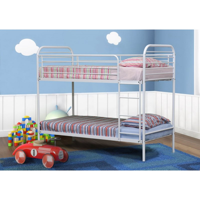 Camden Single Size Tubular Steel Bunk Bed In White Buy Bunk Beds