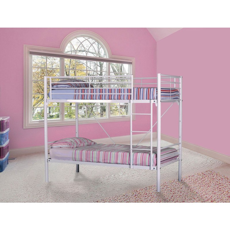 Jersey Single Size Tubular Steel Bunk Bed In White Buy Bunk Beds