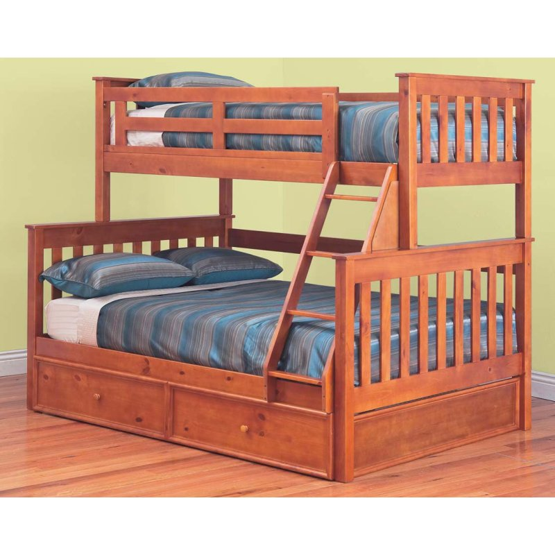 Awesome Trio Bunk Bed With Trundle In Teak Colour Buy Bunk Beds
