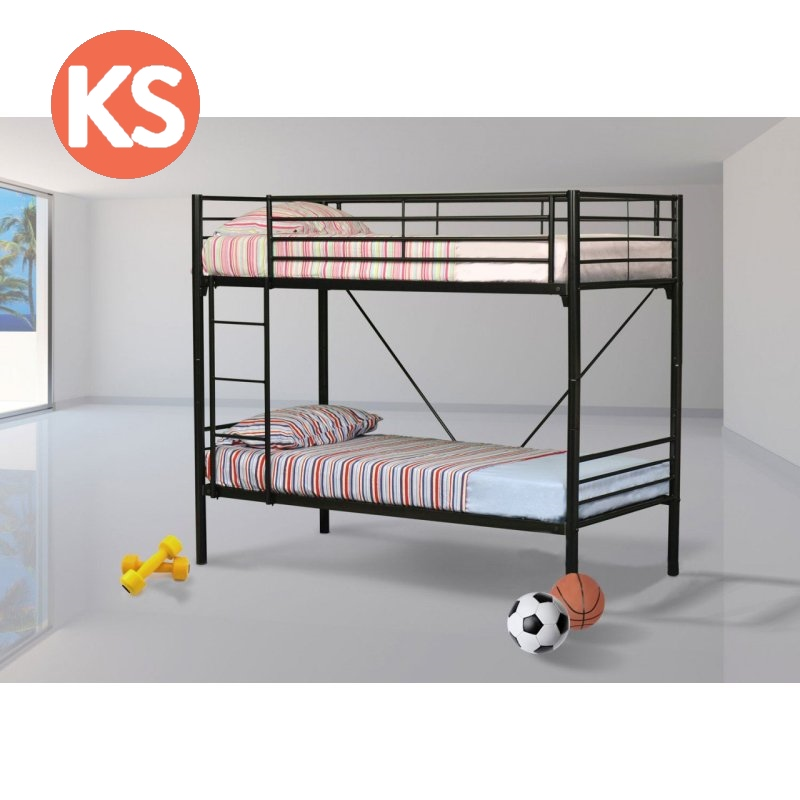 Jersey King Single Tubular Steel Bunk Bed In Black Buy Bunk Beds