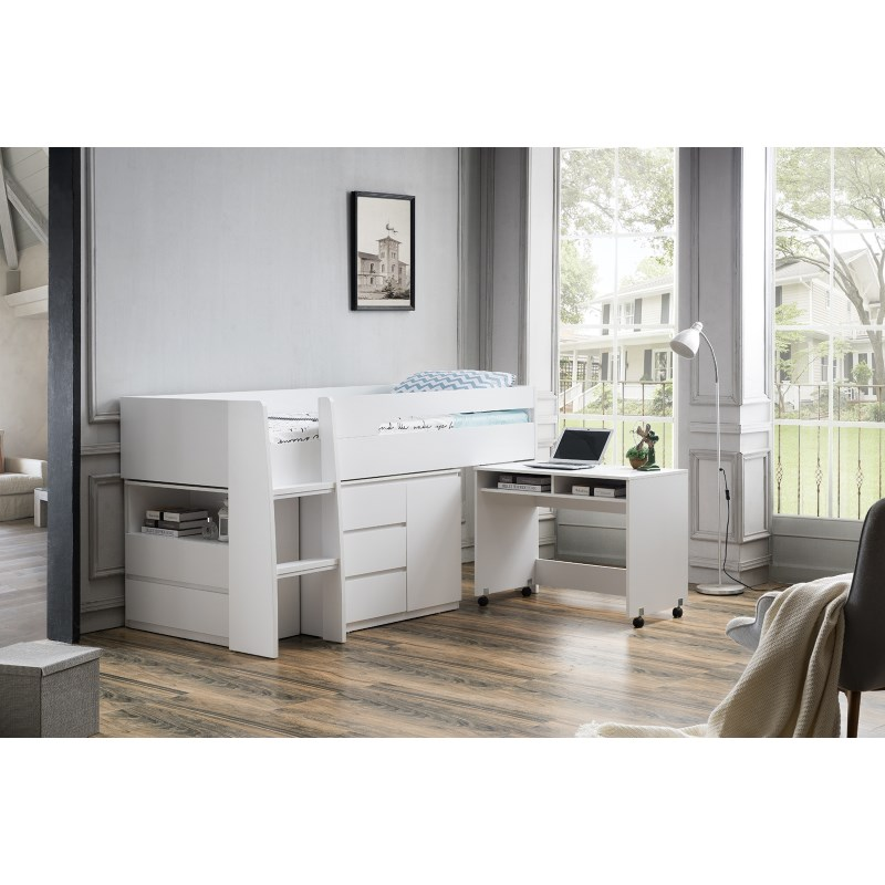 King Single Beds With Desk : King single loft bed with desk and storage in white buy