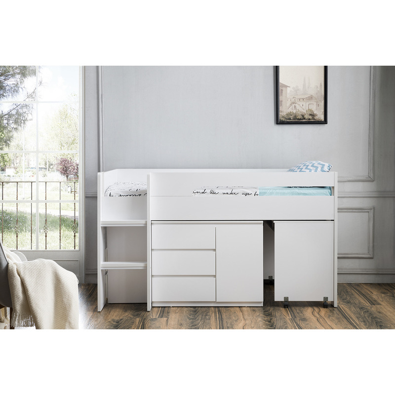 Kids Single Loft Bed with Desk and Storage in White | Buy ...