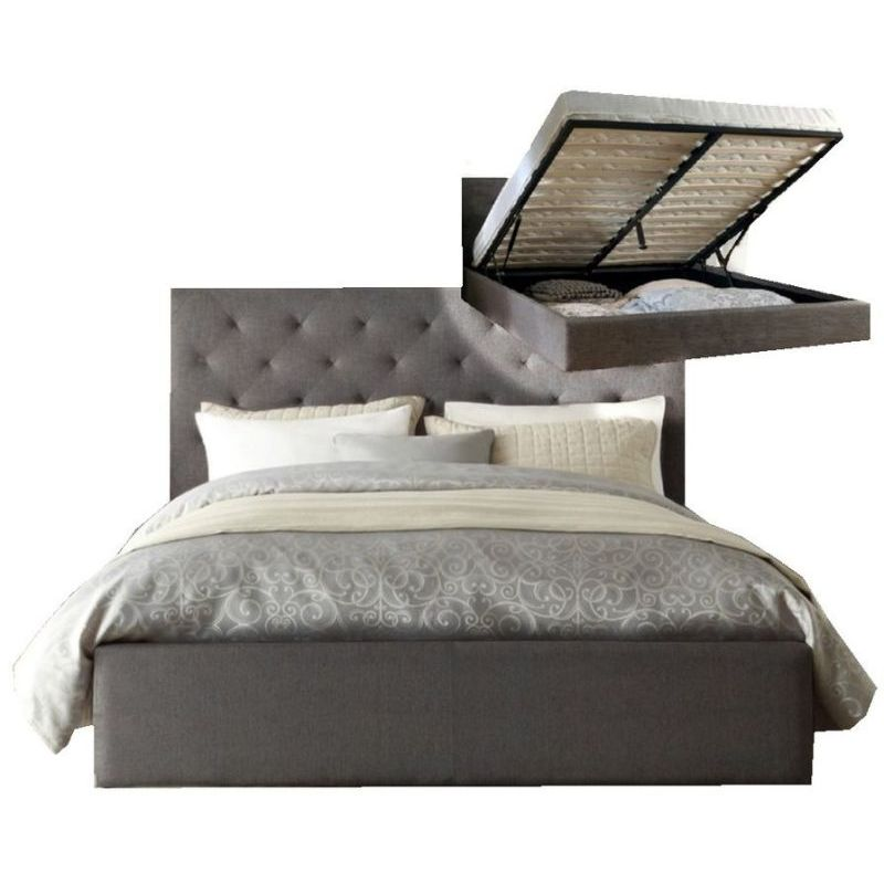 chester double fabric bed frame in grey w gas lift