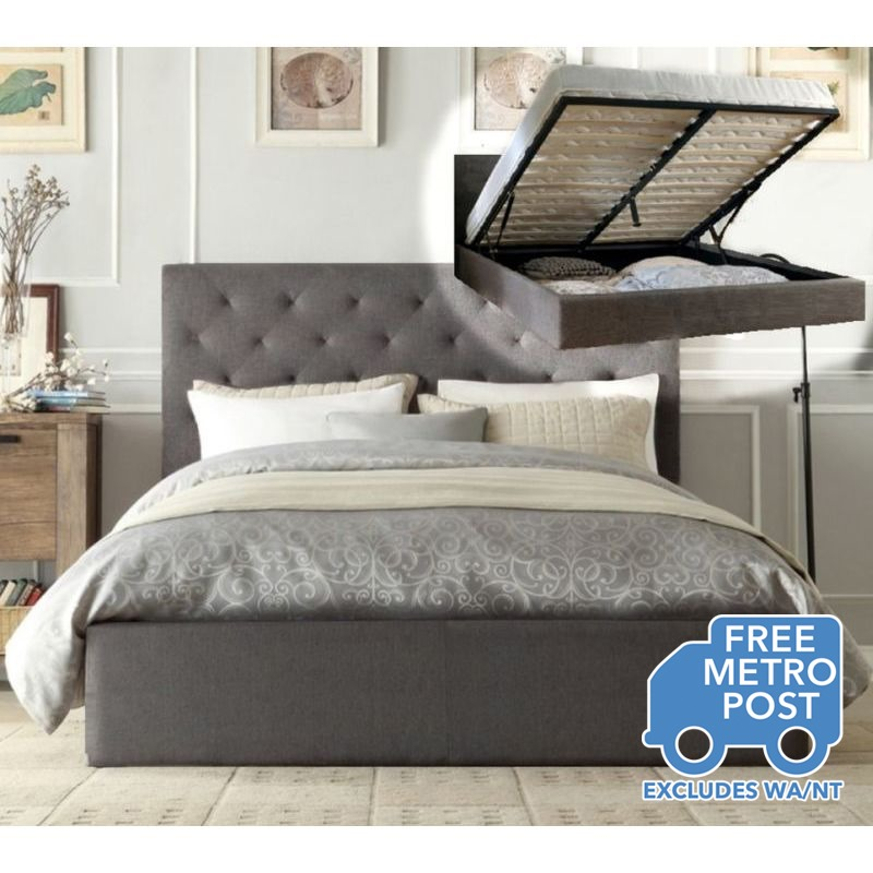 Chester Queen Fabric Bed Frame In Grey W Gas Lift Buy