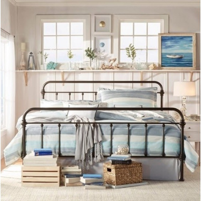 York Double Size Modern Metal Bed Frame in Black | Buy Double Bed Frame