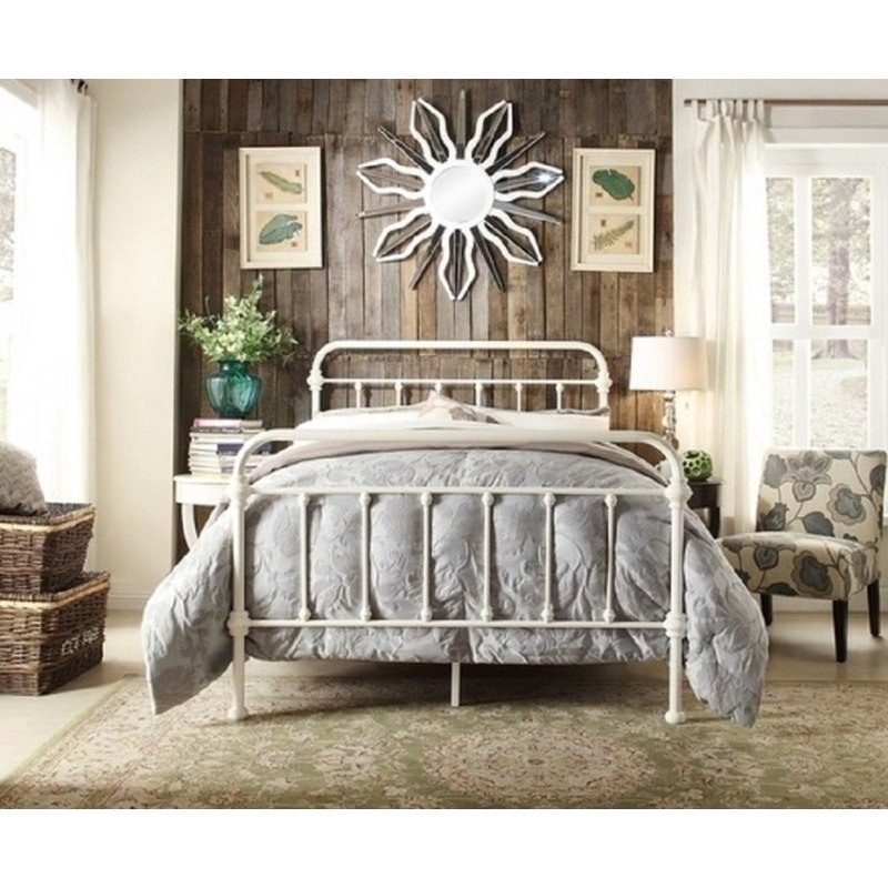 York Double Size Modern Metal Bed Frame In White Buy