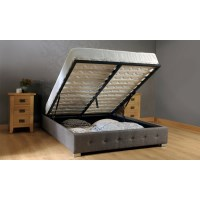 Queen Size Fabric Gas Lift Storage Bed Frame Grey