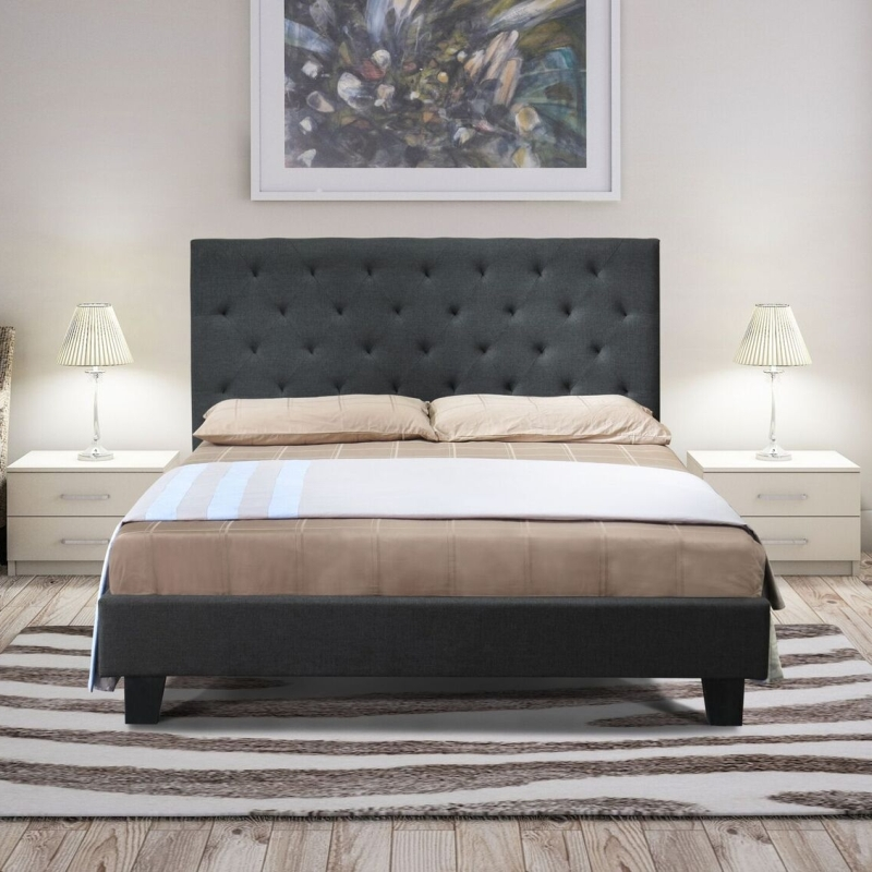 Chester Queen Size Fabric Bed Frame in Charcoal Buy Queen Bed Frame