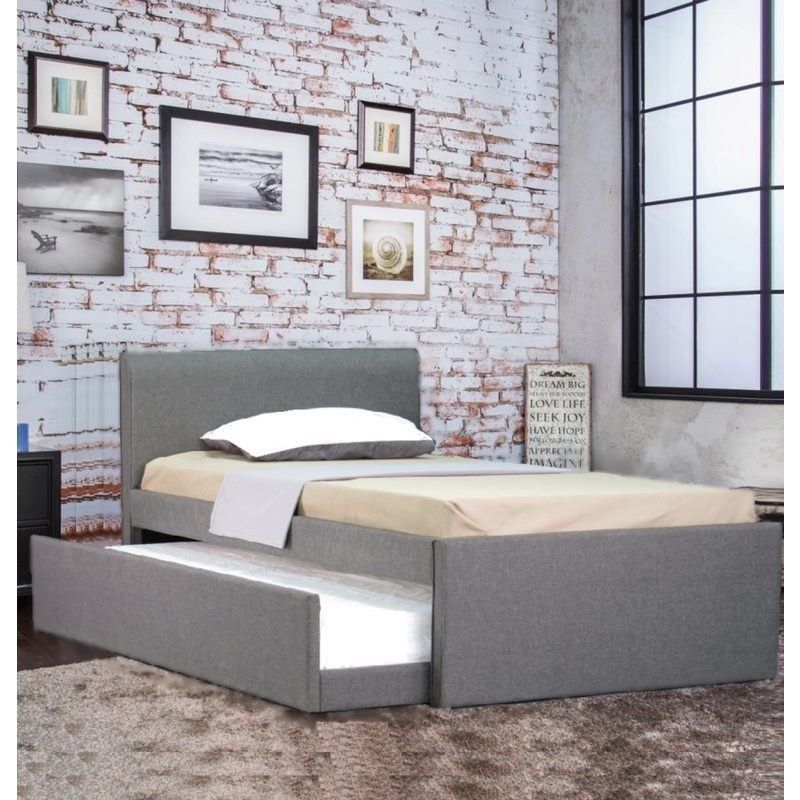 Devonshire fabric king single bed frame grey w trundle for Fabric bed frame with storage