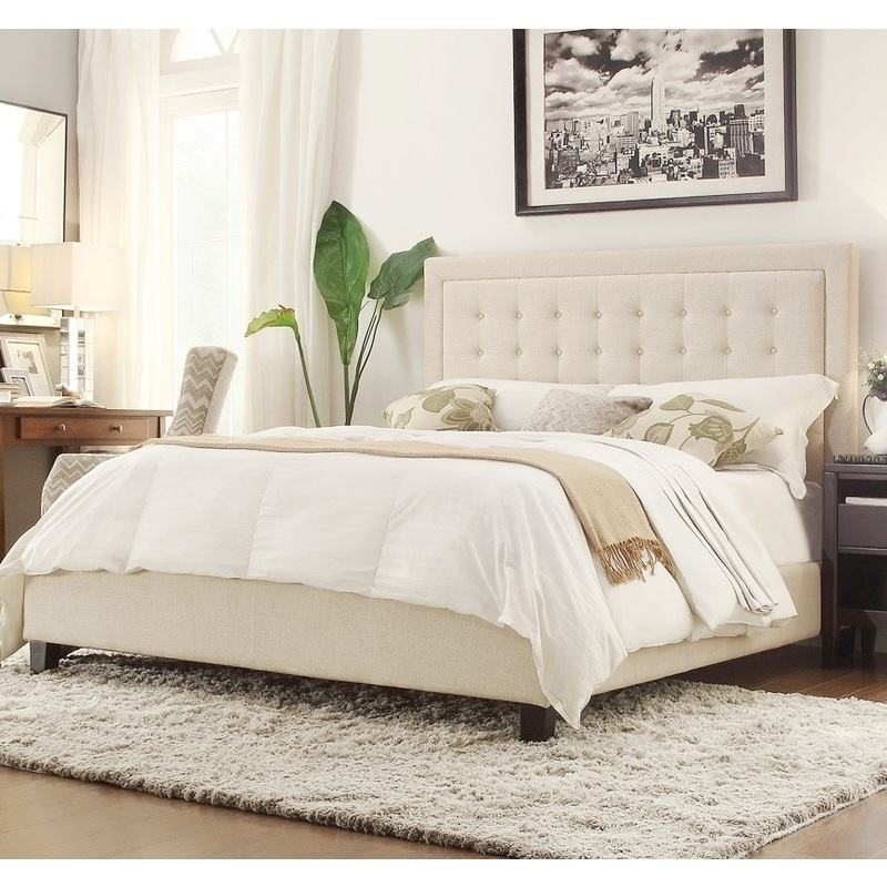 Gloucestershire King Single Linen Fabric Bed Frame in Beige | Buy ...