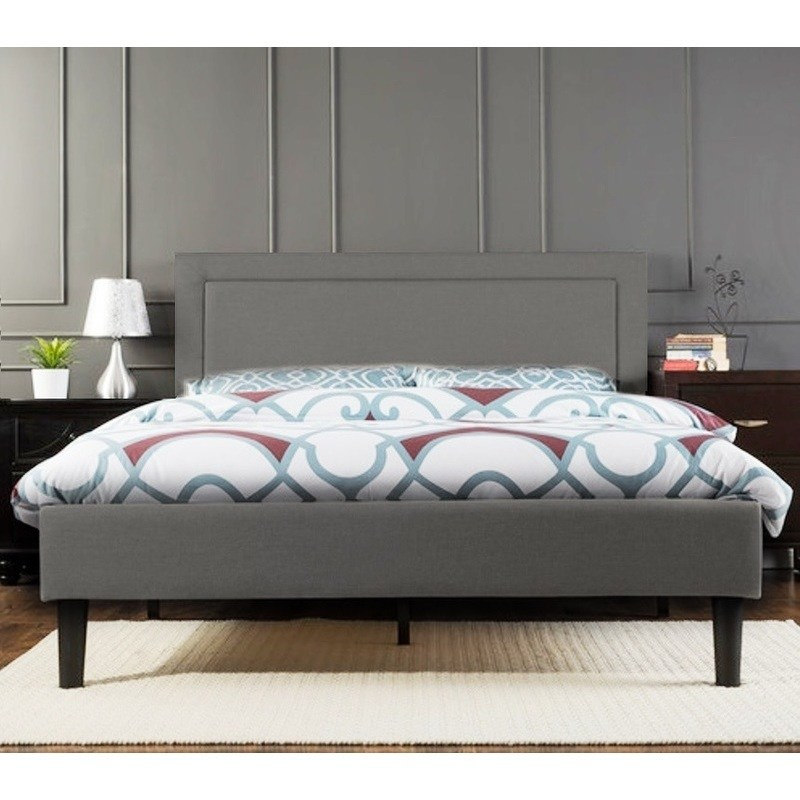 Grey Single Headboard: Portsmouth King Size Linen Fabric Bed Frame In Grey