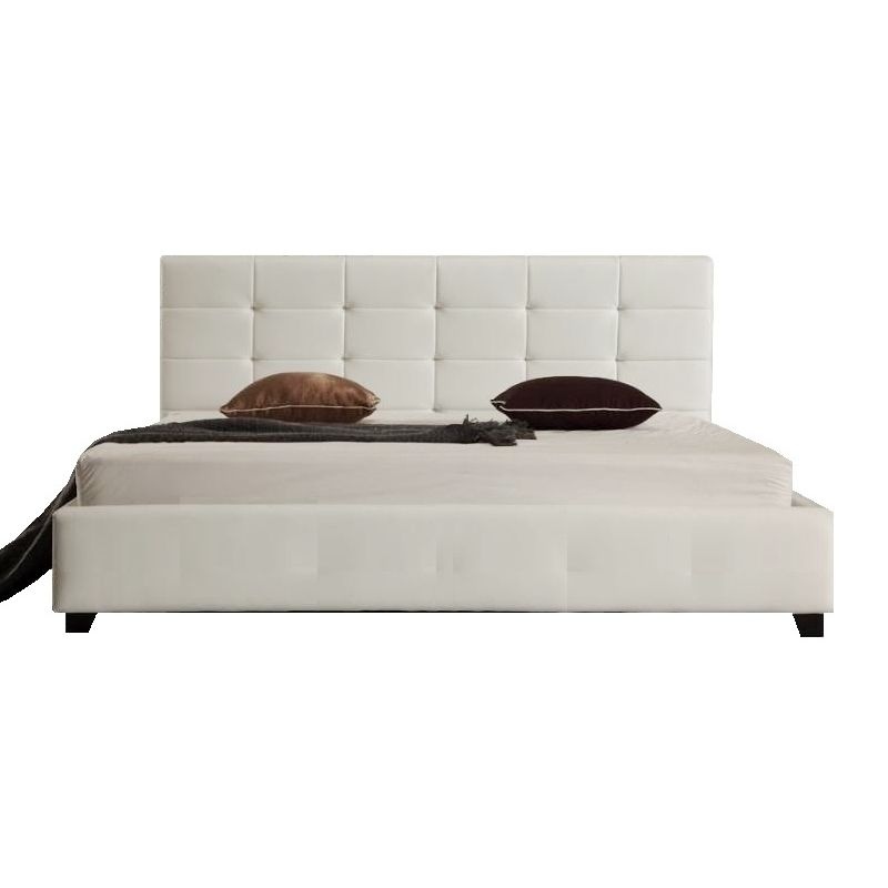 Fife Double PU Leather Padded Bed Frame in White   Buy Double Bed Frame