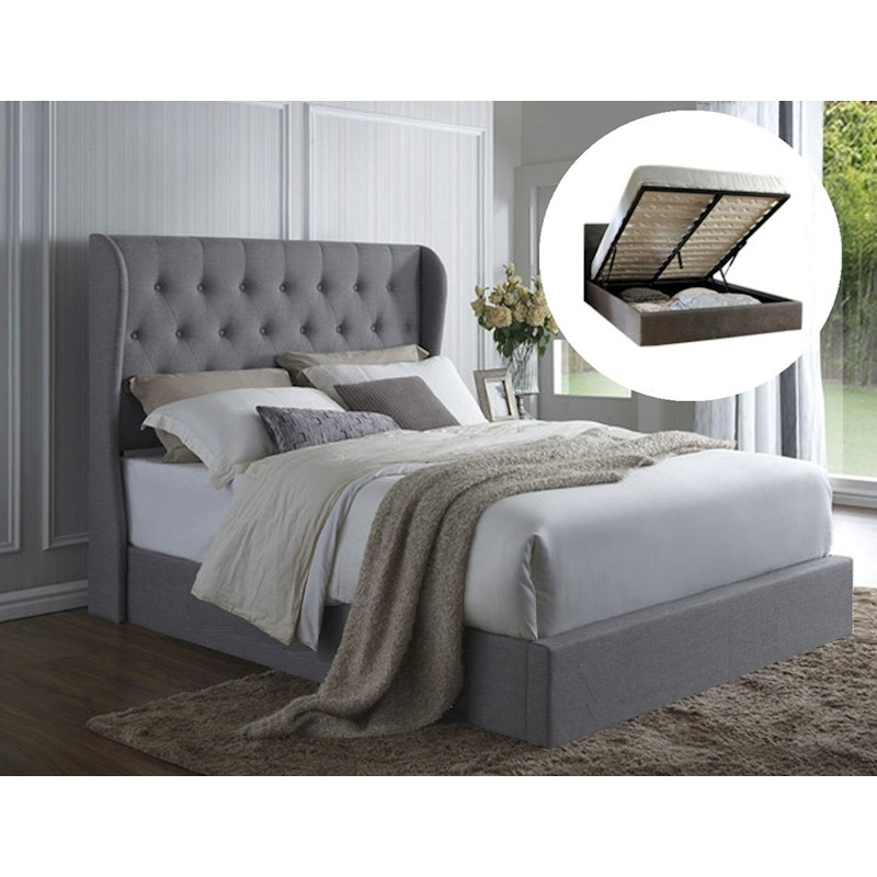 Italian Design Westminster King Gas Lift Ottoman Storage Bed Frame