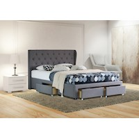 Dudley King Drawer Storage Fabric Bed Frame Grey
