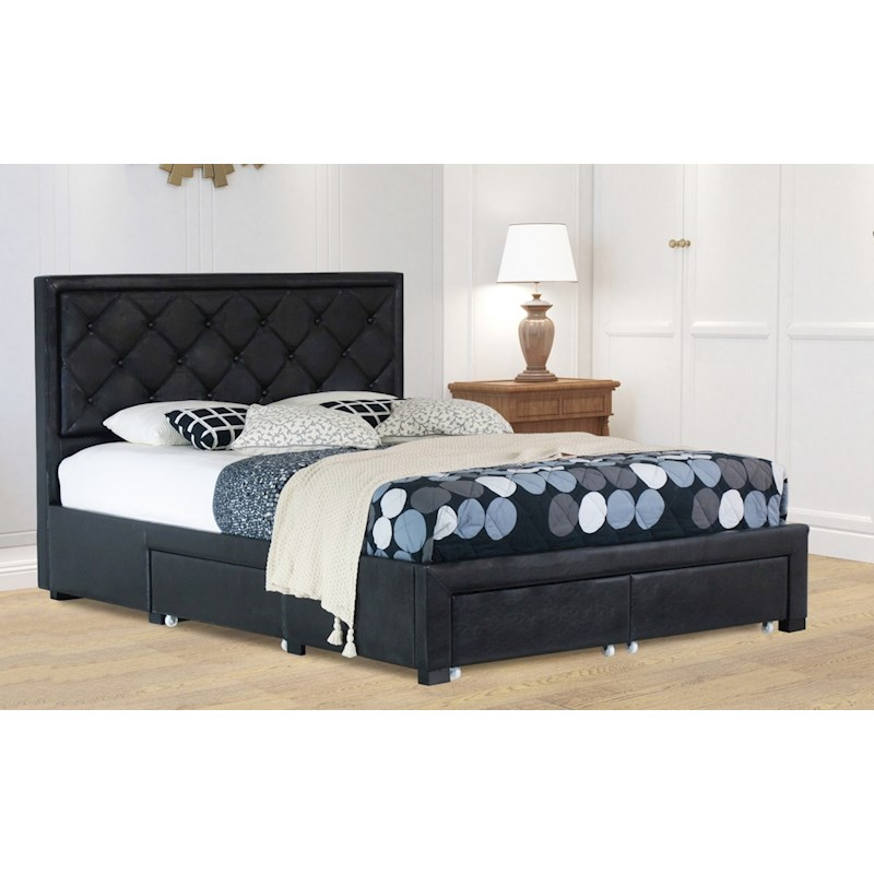 Maltravers Queen Drawer Storage Pu Leather Bed Frame Black Buy