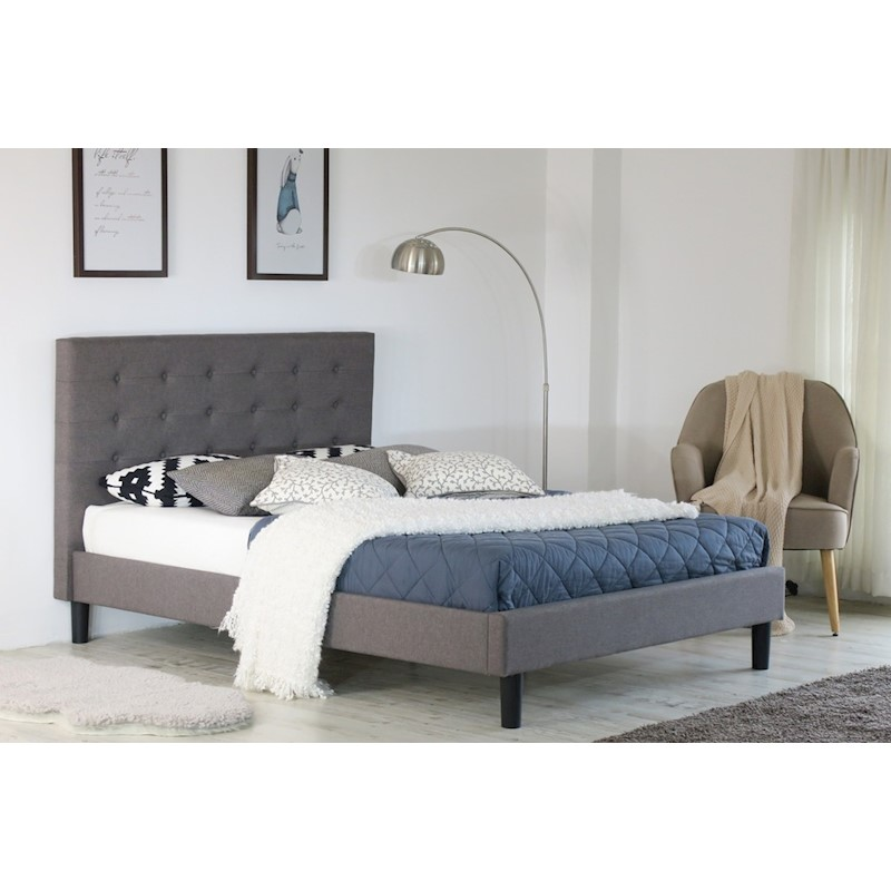 Albany Button King Bed Frame Fabric Grey | Buy King Size Bed Frame ...
