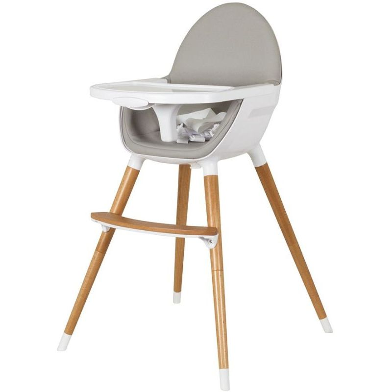 Childcare baby high chair w timber legs in white buy for Chaise haute bebe