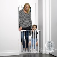 Auto Close Swinging Baby Gate w Extensions in White
