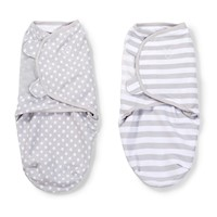 2pc Small Pure Cotton Baby Swaddle Blanket in Grey