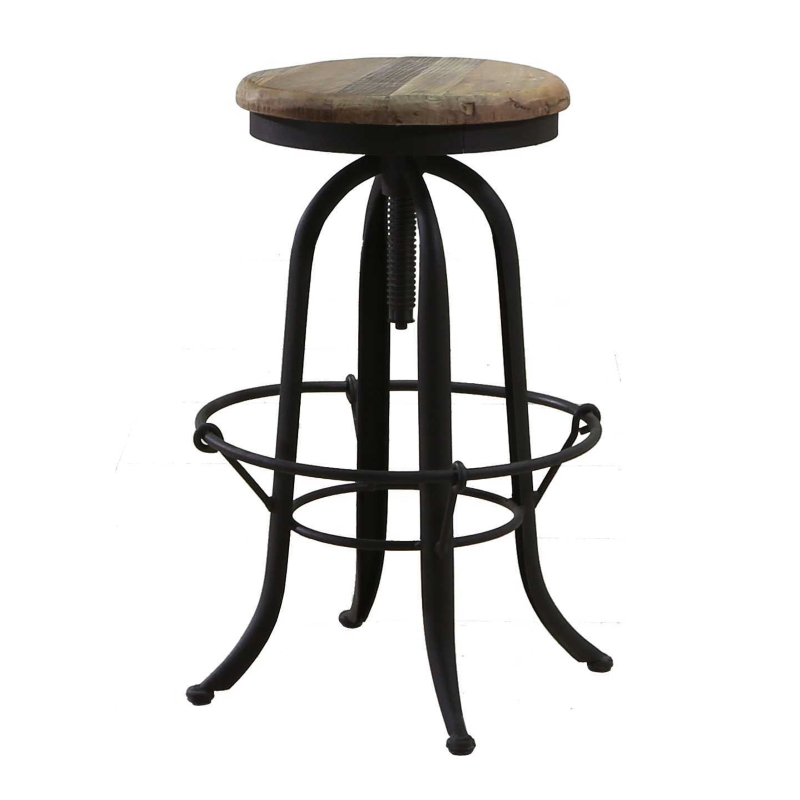 Kitchen Stools Adelaide: Bowl Brace Wood & Wrought Iron Industrial Bar Stool