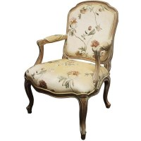 Louis XV Floral Upholstered Whitewash Arm Chair