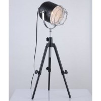 Vintage Metal Tripod Spotlight Table Lamp in Black