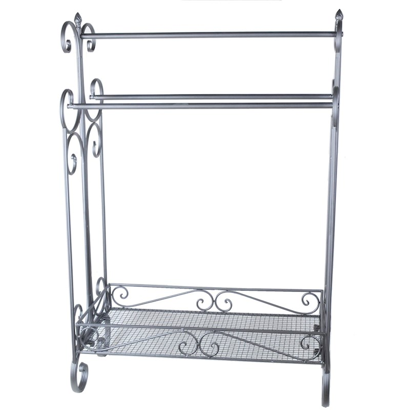 French provincial free standing bathroom iron black towel - Free standing bathroom towel rack ...
