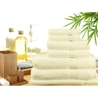 7 Piece Bamboo Cotton Bath Towel Set in Cream