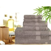 7 Piece Bamboo Cotton Bath Towel Set in Mocha