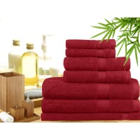7 Piece Bamboo Cotton Bath Towel Set in Red