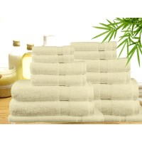 14 Piece Bamboo Cotton Bath Towel Set in Cream