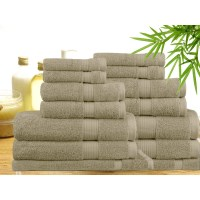 14 Piece Bamboo Cotton Bath Towel Set in Linen