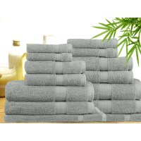 14 Piece Bamboo Cotton Bath Towel Set in Silver
