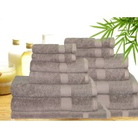 14 Piece Bamboo Cotton Bath Towel Set in Mocha