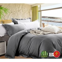 Queen Egyptian Cotton Quilt Cover Set in Charcoal