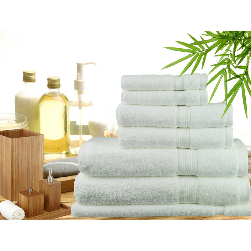 Bamboo Kitchen Towels Wholesale: 7 Piece Bamboo Cotton Bath Towel Set In White